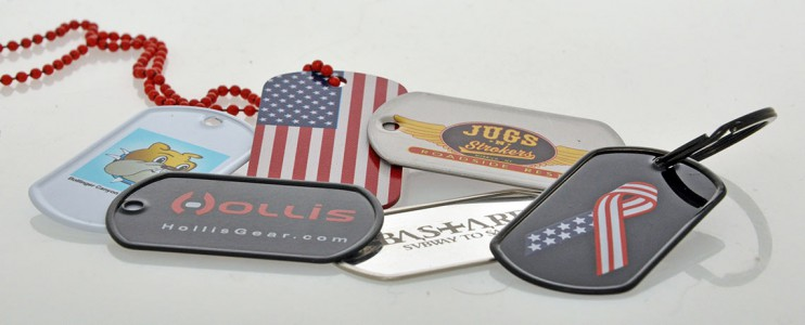 DOG TAGS WITH A COLOURED PRINTED LOGO